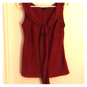 Red polyester sleeveless top